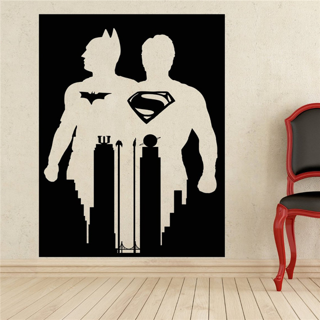 Comics Art Superman U0026 Batman Wall Decal Superhero Sticker Home Decoration  Any Room Waterproof Removable Wall Part 90