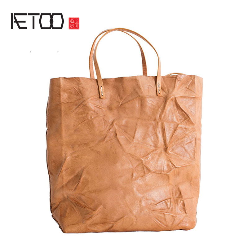 AETOO Tote bag handbag new original design handmade leather portable first layer leather large capacity soft shoulder bag aetoo leather men bag new retro first layer of leather handbag large capacity vegetable tanned leather shoulder bag