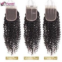 Funmi малазийские кудрявые вьющиеся волосы с закрытием волос младенца малазийские девственные волосы закрытие 8-20 дюймов для парикмахерской