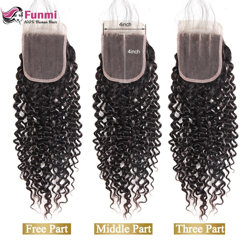 Funmi Malaysian Kinky Curly Closure With Baby Hair Human Hair Closure Malaysian Virgin Hair Closure 8-20 Inch For Hair Salon