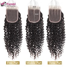 Funmi Malaysian Kinky Curly Closure with Baby Hair Human Hair Closure Malaysian Virgin Hair Closure 8-20 inch for Hair Salon(China)