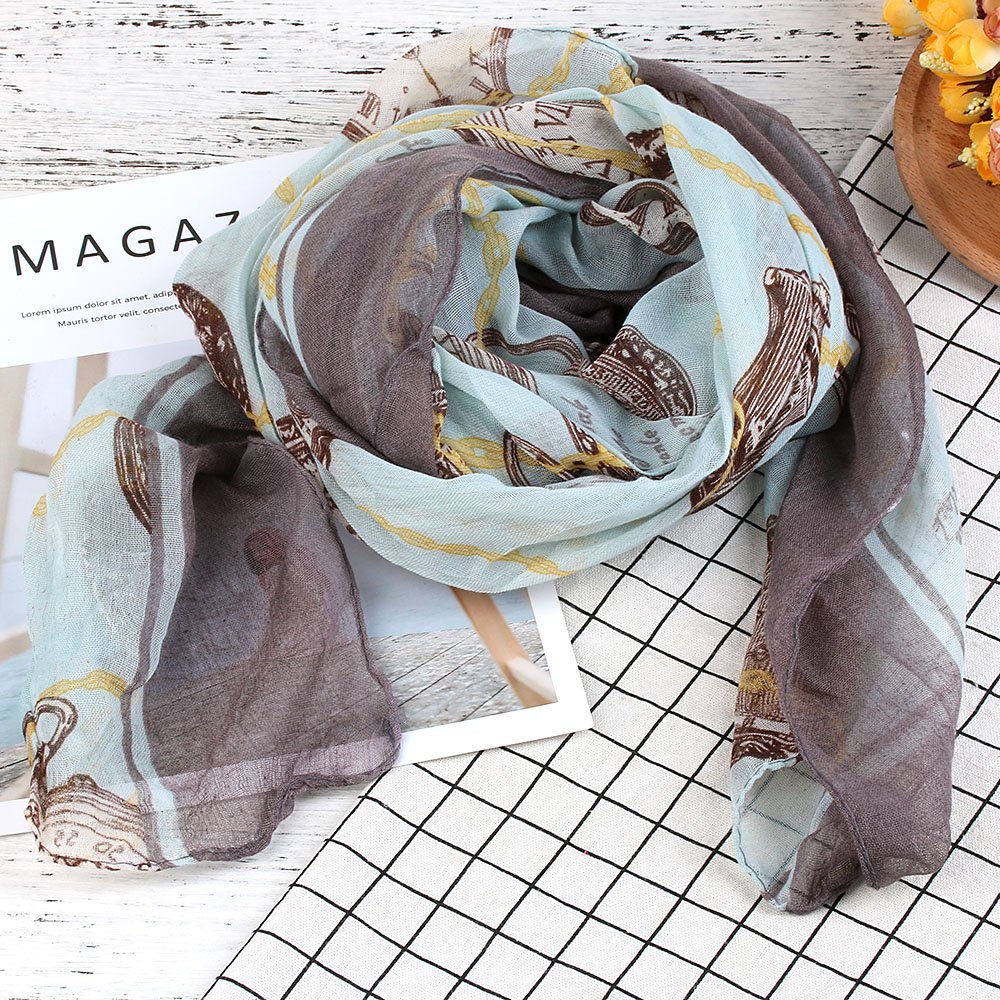 172cm*80cm Women Voile Long   Scarves   Clock Printed Pattern   Scarf     Wrap   Ladies Shawl Large Voile   Scarves