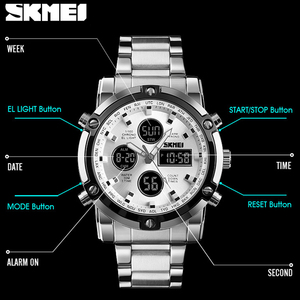 Image 4 - SKMEI Digital Quartz Watch Men Outdoor Sports Countdown Waterproof Stainless Steel Strap Wristwatch Men Clock Relogio Masculino