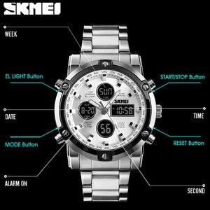 Image 4 - SKMEI דיגיטלי קוורץ שעון גברים חיצוני ספורט ספירה לאחור עמיד למים נירוסטה רצועת שעוני יד גברים שעון Relogio Masculino