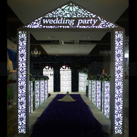 LED light road lead column Party Decoration 8pcs/lot White Carved Pillar Stand table centerpieces for home wedding party