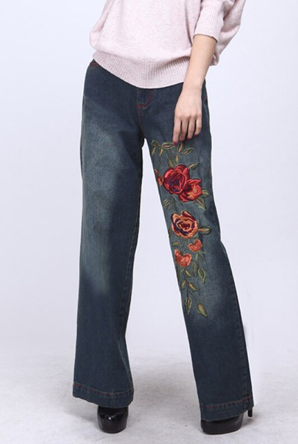 d9f0e476fe 2015 women s embroidery jeans female trousers loose wide leg embroidery  pants mid waist washed water embroidery jeans