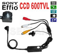 Mini camera color 1/3 sony ccd 600tvl mini câmera com separado da câmera microfone embutido e suporte de saída de áudio