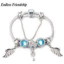 714e6488f AAA Zircon Angel Wing Charm Bracelet Crystal Love Lock Beads fit Pandora  Bracelets Diy Making Girl Woman Jewelry Gifts