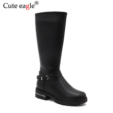Cute eagle Winter PU Leather Boots Children Girls Felt boots Kids Warm With Plush Snow Fashion High Rubber