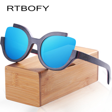 RTBOFY Wood Sunglasses for Men and Women Skateboard Wood Frame Shades font b Cat b font