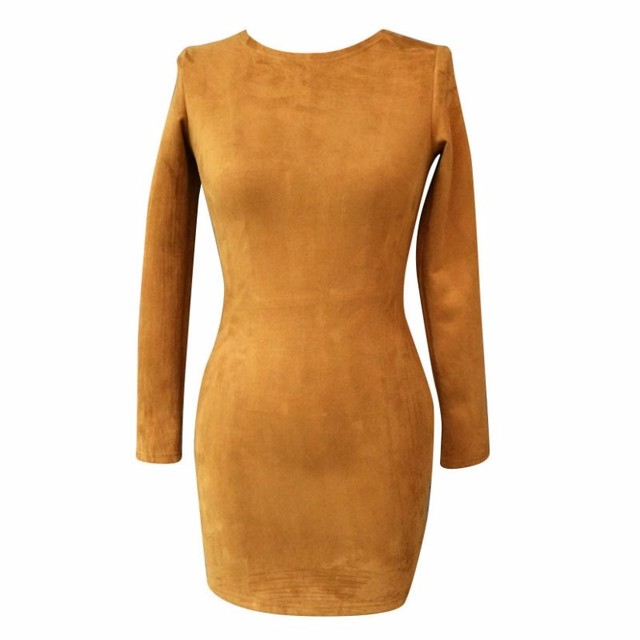 Long Sleeve Slim Party Dress Sexy Club Brown Vestido Women Winter Dresses Kendall Jenner Skin Tight Faux Suede Bodycon Dress 6