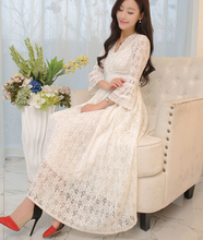 Free Shipping Bohemian Style Hot Sale Retro Three-quarter Sleeve V Collar Collect Waist Lace Long Dress