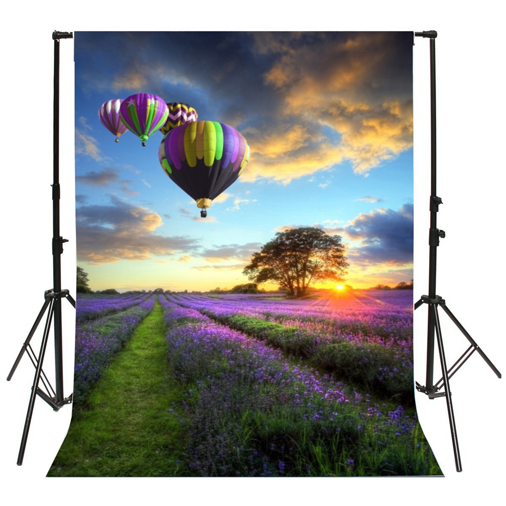 5216b22f94 Laeacco Flower Field Hot Air Balloons Sunset Scenic Photography Backgrounds  Customized Photographic Backdrops For Photo Studio-in Background from  Consumer ...