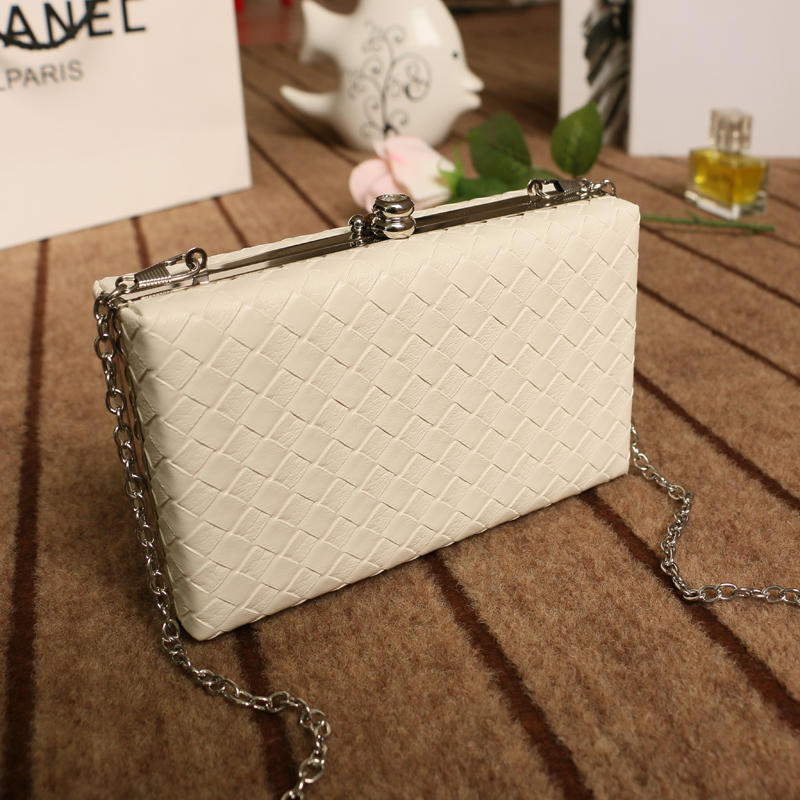 Trenadorab White ladies frame bag black women leather clutches purse Pink silver Yellow diamond Lattice handbag on chain карабин black diamond black diamond rocklock twistlock