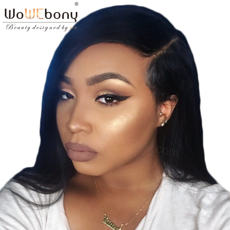 WoWEbony 100% Indian Remy Hair Natural Straight Human Hair Lace Front Wigs With Baby Hair Free Part