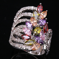 Elegant Marquise Multi color Zircon Garnet 925 Sterling Silver & Trendy Jewelry Ring Size 6 / 7 / 8 / 9 S0842