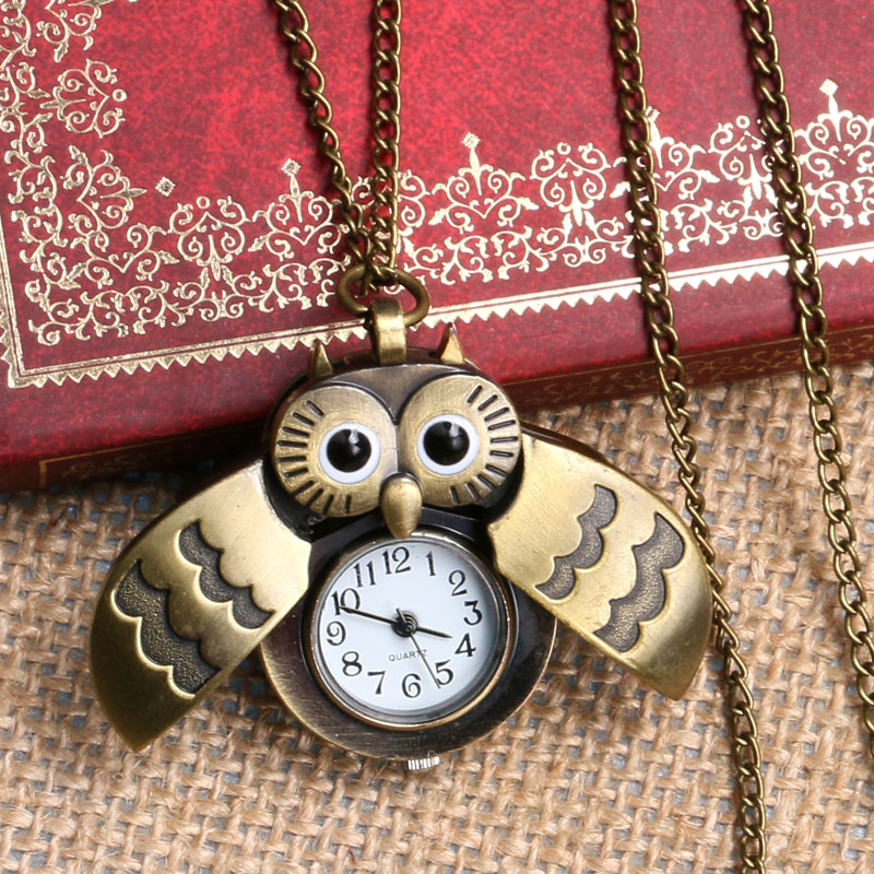 Vintage Bronze Lovely Little Cute Owl Watch Nurse Fob Pocket Watches with Necklace Pendant Chain Dropshipping Relogio De Bolso vintage bronze retro slide smart owl pocket pendant long necklace watch 8juh