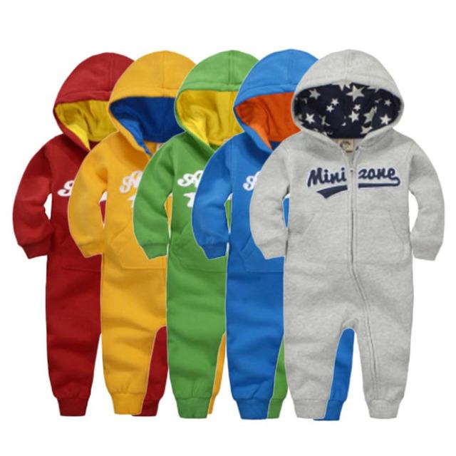 ¡ Caliente! Diseño de moda Otoño Invierno Mamelucos Del Algodón Del Bebé de Manga Larga Niños Niñas Gruesas Monos Al Aire Libre Mantener Caliente Nuevo