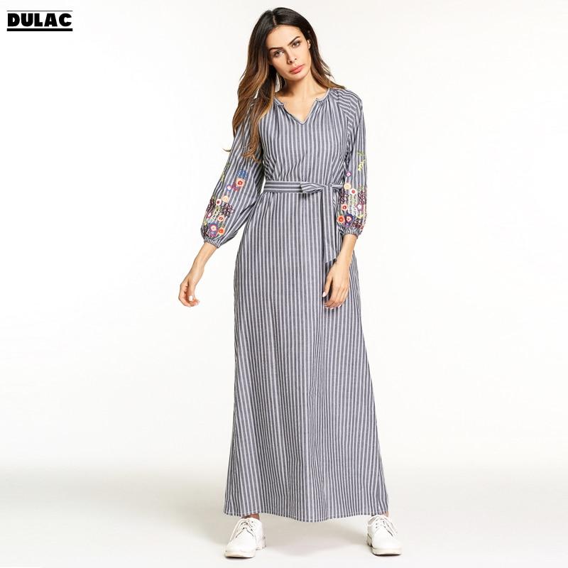 Ramadan Zomer 2018 Dames Mode O-hals Lange mouw Casual Losvallend - Dameskleding
