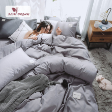 SlowDream Light Gray Bedding Set Luxury Bed Linen Double Queen Bedspread Flat Sheet Japan Style Solid Color Adult
