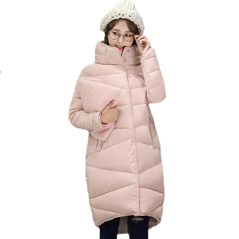 Winter Cotton Coat Women New Fashion Stand Collar Thickening Warm Padded Jacket Plus Size Loose Long Overcoat PW0719 2017 winter women plus size in the elderly mother loaded cotton coat jacket casual thickening warm cotton jacket coat women 328