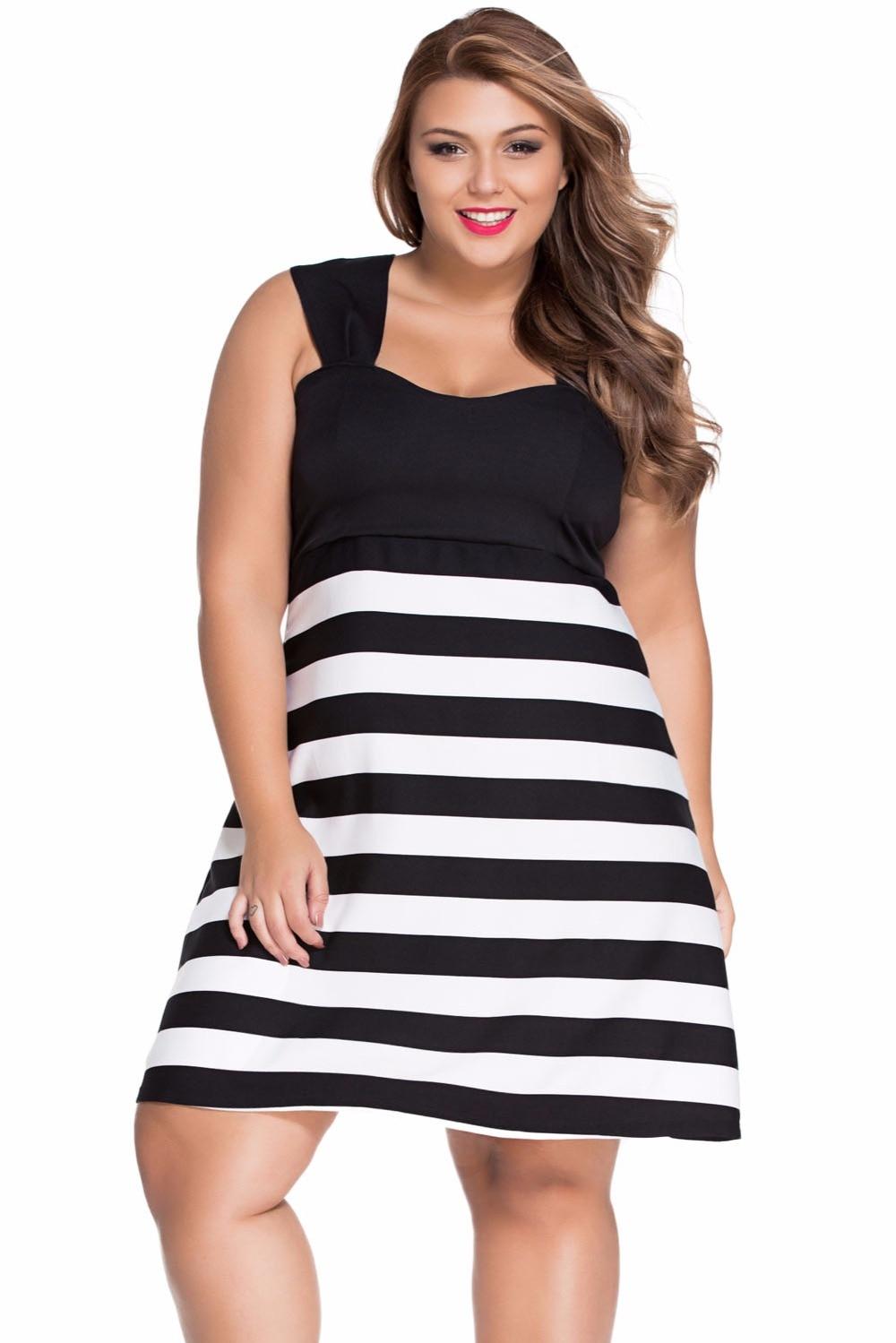 XL XXXL Black And White Plus Size Block Stripe Big Girl ...