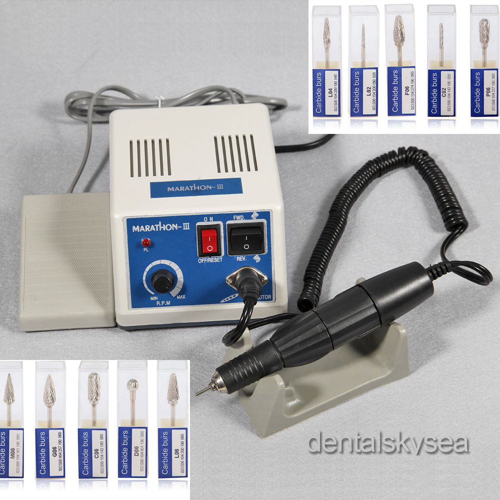 Dental Lab Electric Motor Micromotor Marathon N3+35K RPM Handpiece + 10 Burs dental lab marathon micromotor machine n3 35k rpm electric motor gold