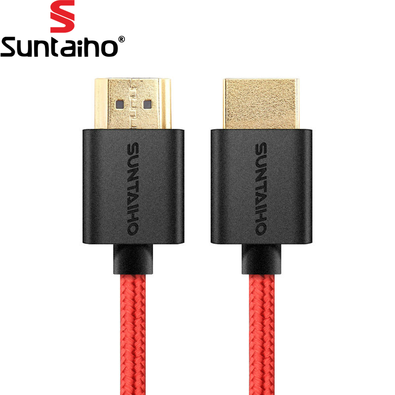 Suntaiho HDMI to HDMI Cable Gold Plated Plug Red Net woven HDMI cable 1.4v 3D 4K for mac pro smart tv ps4 xbox 1m 2m 3m 5m 10m plated f cable to tv cable convertor plug