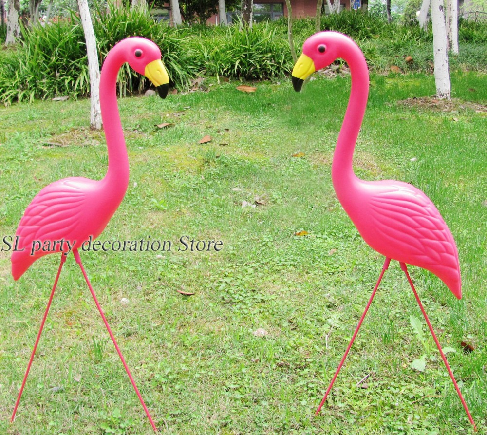 Flamingo garden ornament - 1pair Plastic Pink Flamingo Garden Yard And Lawn Art Ornament Wedding Ceremony Decoration China
