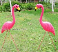 1pair plastic pink flamingo garden yard and lawn art ornament wedding ceremony decoration