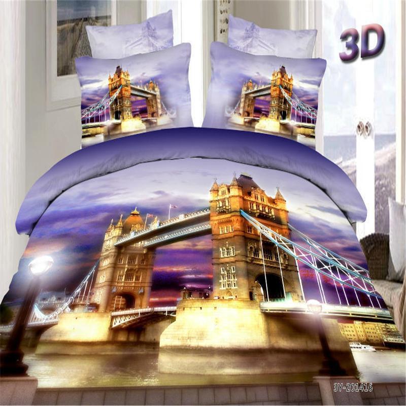 Новый продукт, Лондонский мост, ночной город, 3D комплект постельного белья, Королевский размер, хлопок, домашний текстиль, наборы, простыня, ...
