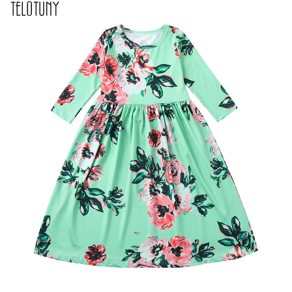 1fc3c2b50d78c TELOTUNY Baby Dress Toddler Girl Kids 3/4 Sleeve Floral Pleated Princess  Long Maxi Dress Girls Casual Dress Fashion New Jan3