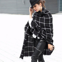 100pcs/lot New Lady Women Blanket black white Plaid Cozy Checked Tartan Scarf Wraps shawl