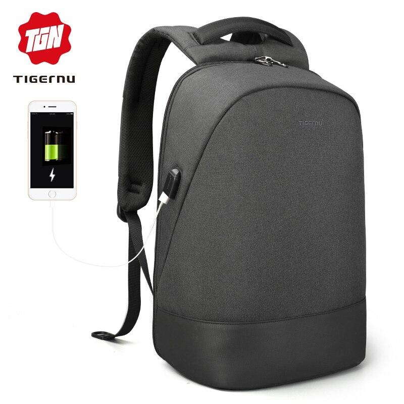Tigernu USB carga impermeable antirrobo mochila 15,6 pulgadas portátil mochila hombres Mochilas para adolescentes mochila