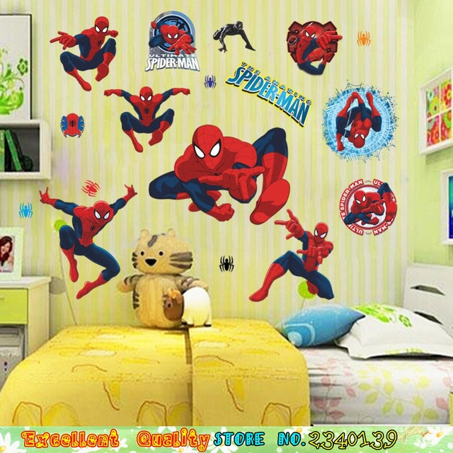 Boys Kids Room Sipderman Wall Stickers Christmas Gifts Bedroom Decorations  Decals Spider Man Mural Art Wall