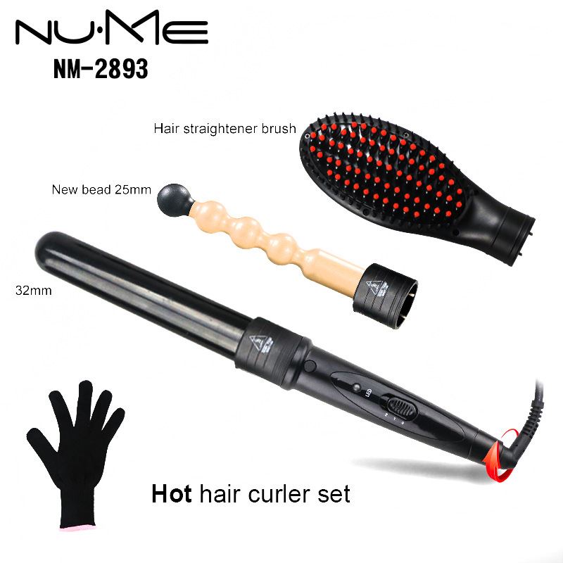 Wand Curling Iron hair straightening brush Set 3 in 1 Interchangeable Ceramic Barrels hair curler Temperature Control with LED kemei km 173 led adjustable temperature ceramic electric tube hair curler