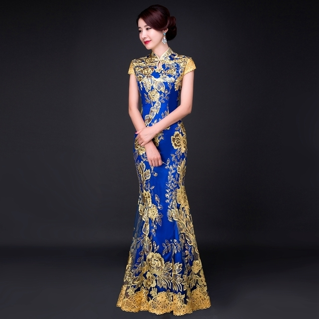 Blue Fishtail Lace Cheongsam Gold Thread Embroidery Sequins Long Qipao Chinese Dress Traditional Robe Chinoise Abendkleider