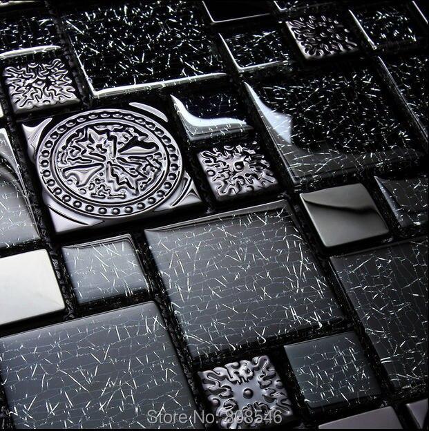 Lusso nero del fiore del metallo mosaico di vetro piastrelle per bagno cucina backsplash - Piastrelle di lusso ...