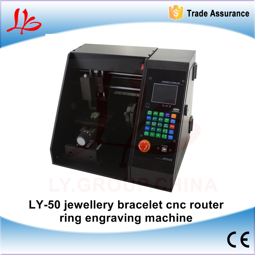 LY-50 jewellery bracelet cnc router ring engraving machine metal milling marking machine with off line function ART-CAM software cnc 5axis a aixs rotary axis t chuck type for cnc router cnc milling machine best quality