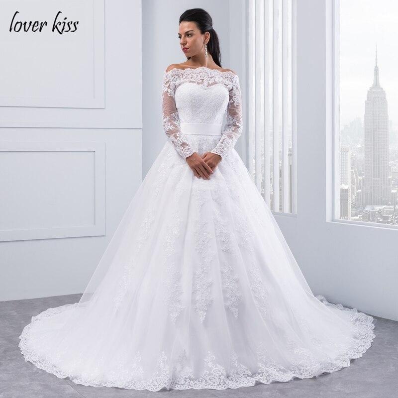 10045 45 De Réductionamant Kiss Vestidos De Noiva épaule Dénudée à Manches Longues Robes De Mariée Col Bateau Dentelle Robe De Mariée Plus Blanc