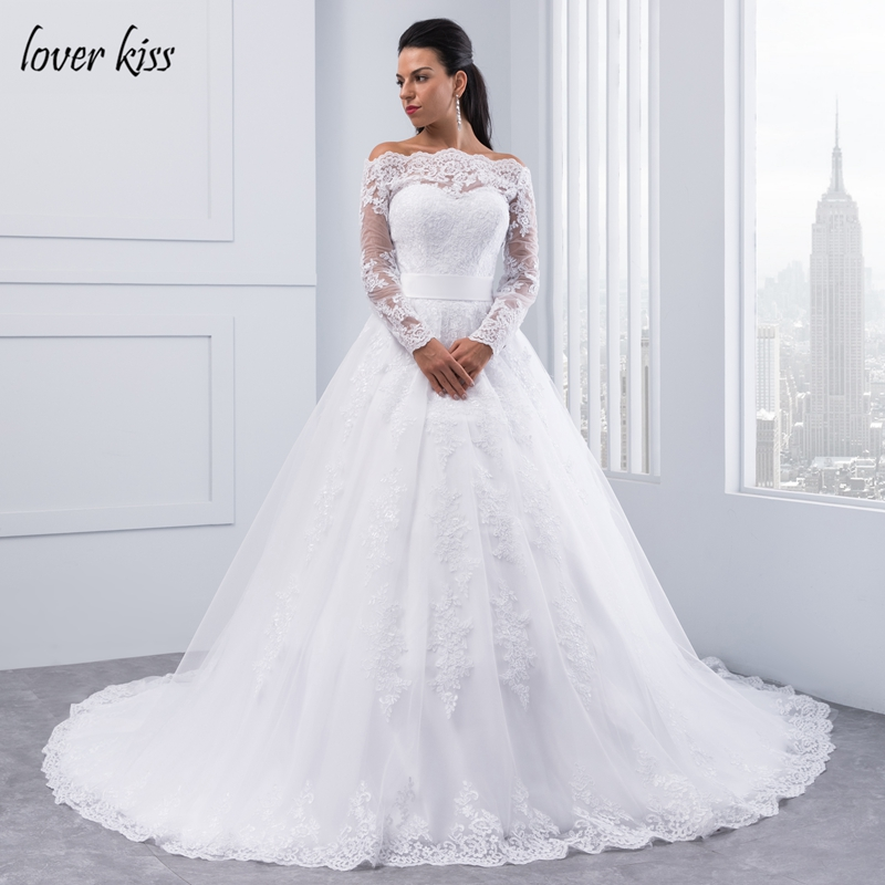 Robe Encolure Bateau Lover Kiss Long Sleeve Wedding Dresses Boat Neck Ball Gown