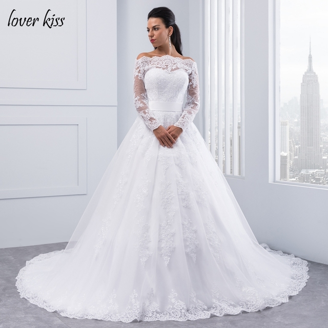 Lover Kiss Long Sleeve Wedding Dresses Boat Neck Ball Gown Wedding ...
