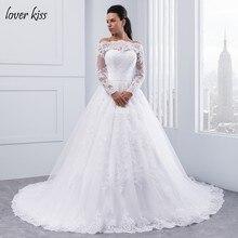 Lover Kiss vestidos de noiva Off Shoulder Long Sleeve Wedding Dresses Boat  Neck Lace Bridal Gown Off White Belt robe de mariage 257a7acb9f0a