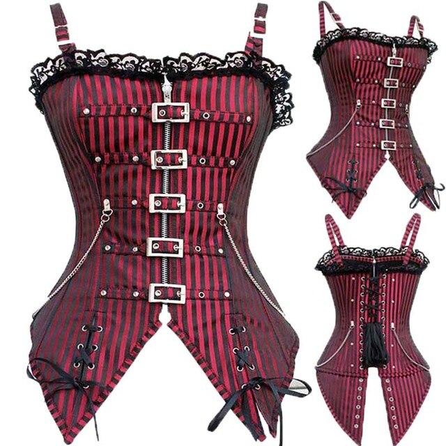 Trainer Cintura listrado Gothic Corset Steampunk Burlesque Trajes de Metal Fivela Mulheres Sexy Espartilhos E Corpetes Top Outwear TYQ