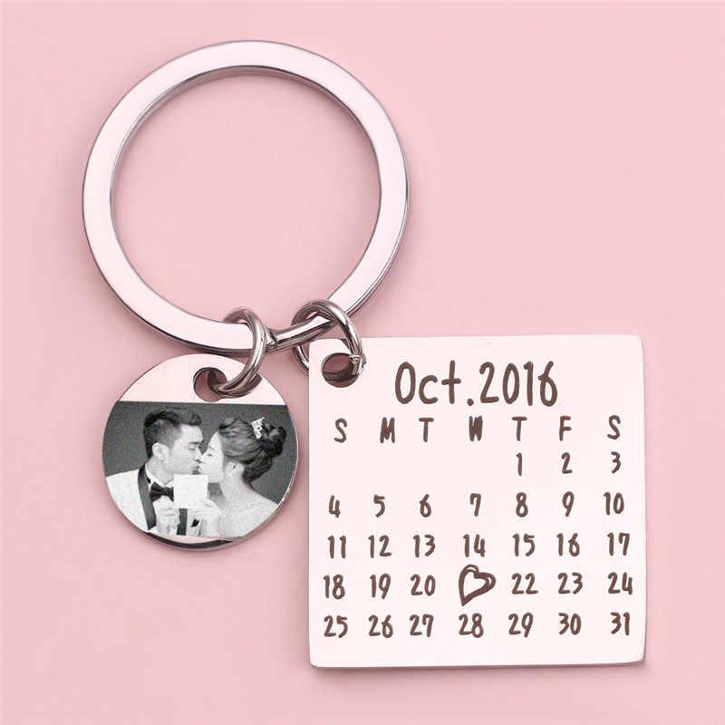 Dia dos pais Venda Calendário Personalizado Homens Aniversário Criativo Handwork Llaveros Chaveiro Personalizado keychain Presente de Aniversário de Casamento