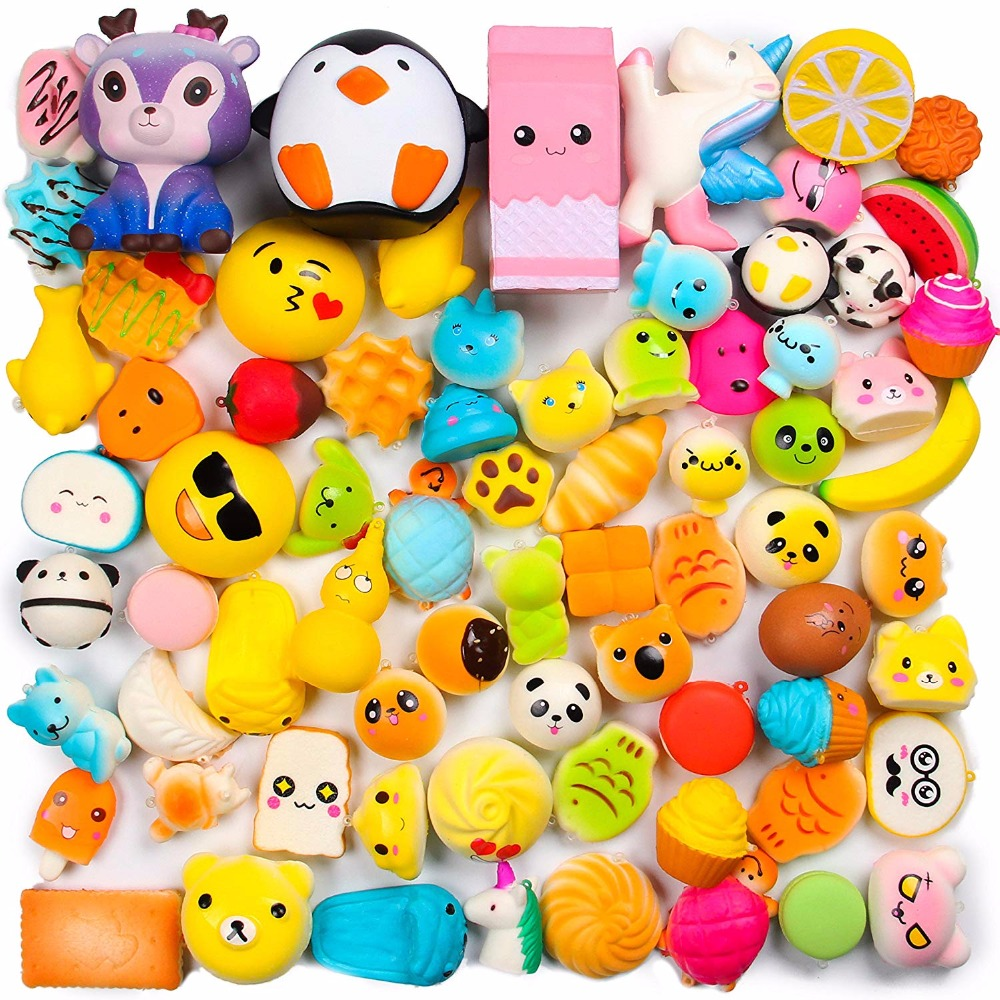 Random 50 Pcs Squishies Cream Scented Slow Rising Kawaii Simulation Lovely Toy Jumbo Medium Mini Soft Squishies, Phone Straps