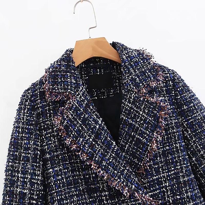 Manteau Veste Glands Épais Rembourré Marine Coton Revers Laine Plaid Hiver Bleu Manches De Printemps Longues Femmes Chaud TndqRzSz