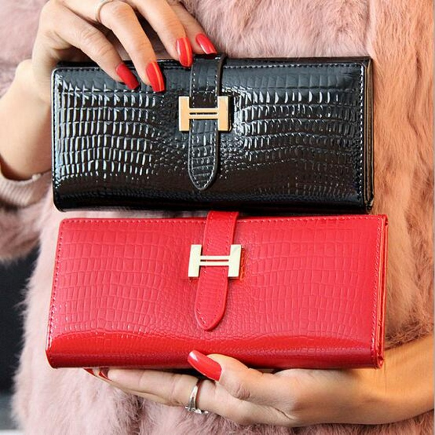 Luxury women ladies wallet female zipper leather crocodile slim long famous brand designer wallets purse carteira feminina