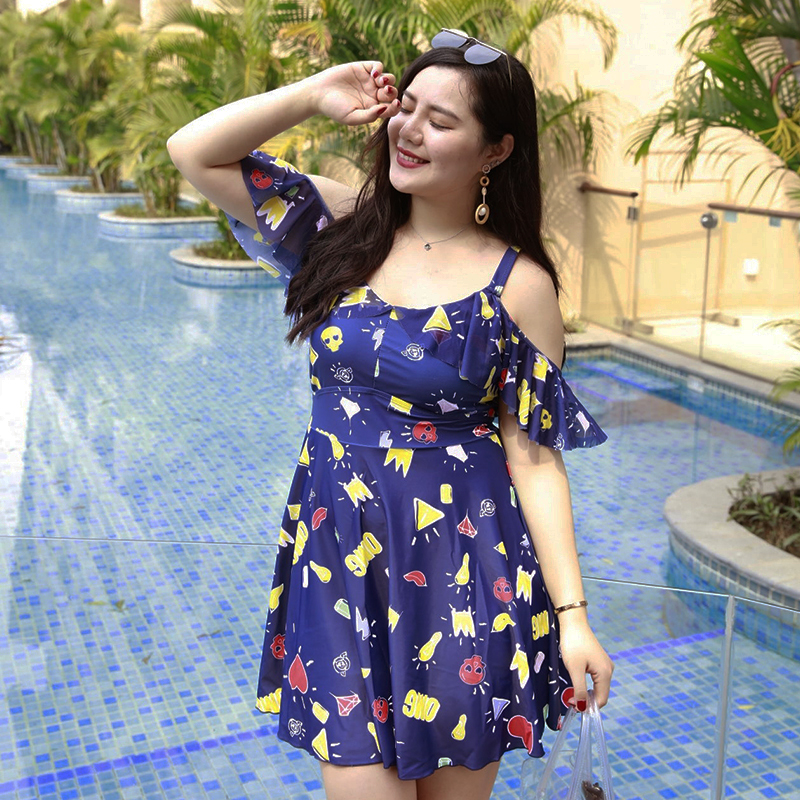 New plus size swimwear women sexy off shoulder one piece swimsuit printed padded beachwear dress flouncing padded bathing suit