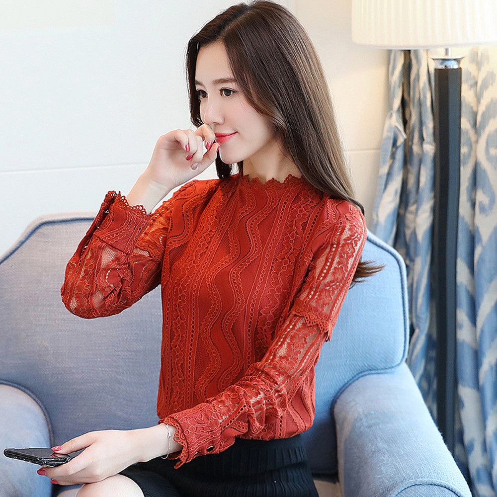 KLV <font><b>2019</b></font> Newly <font><b>Womens</b></font> Office Lace Striped Floral <font><b>Long</b></font> Sleeve <font><b>T</b></font> <font><b>Shirt</b></font> Slim Office Ladies <font><b>Shirt</b></font> Top Dropship 1.23 image